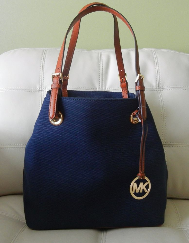 b126c5589c0d New Michael Kors Jet Set Item Grab Bag Navy Blue Canvas w  Leather Trim   MichaelKors  ShoulderTote