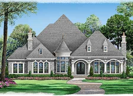 Plan 36365tx Spacious One Story Castle Stone House Plans Mediterranean Homes Luxury House Plans