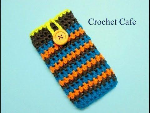 كروشيه جراب للموبايل او تابلت او لاب توب Crochet Cafe Crochet Mobile Crochet Videos Tutorials Crochet Patterns