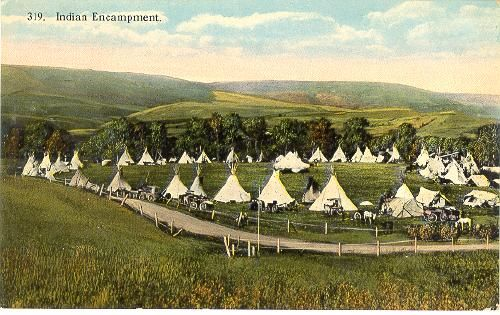 IDAHO - Indian Encampment, Teepees, Buggies c1915 Nezperce