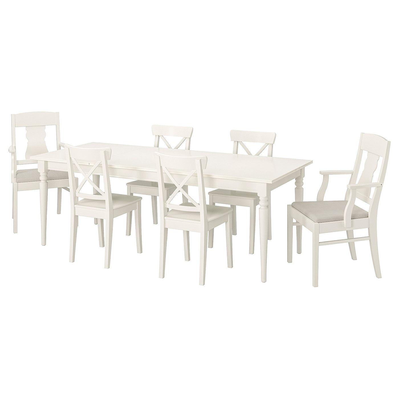 Ingatorp Ingolf Asztal 6szek Feher Nordvalla Bezs 155 215 Cm