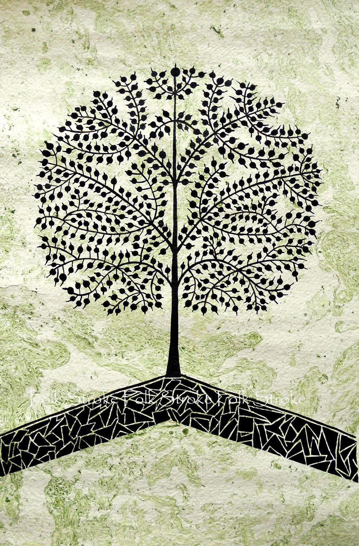 TREE Of LIFE Warli Painting Indian Folk Art by Folkstroke on Etsy. $60.00, via Etsy.