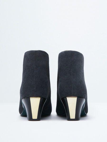 Deep Gray Wedge Heel Leather Casual Boots