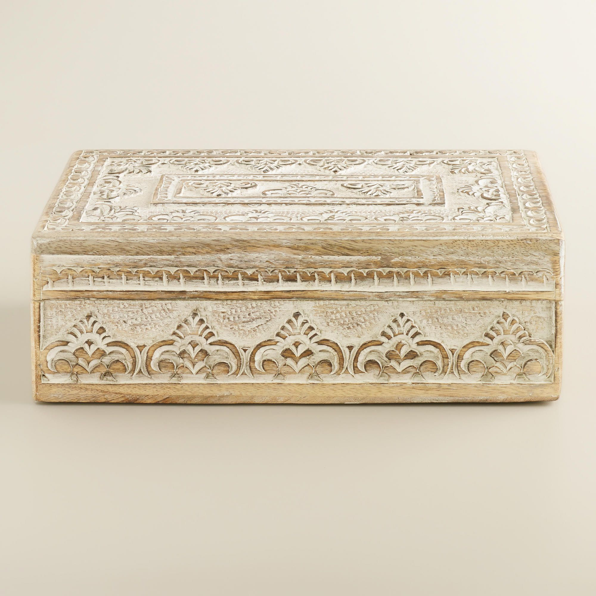 World Market Jewelry Box Enchanting Whitewash Carved Brooklyn Jewelry Box  World Market  Boudoir Inspiration