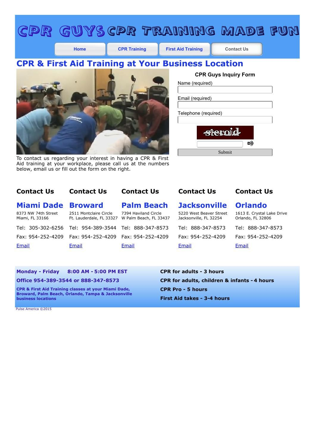 Cpr First Aid Training At Your Business Location Cpr Training Cpr Business