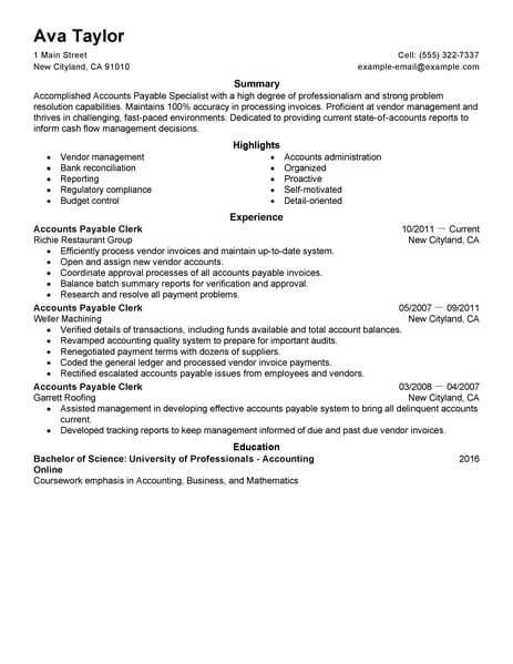 Accounts Payable Resume Samples Extraordinary Resume Examples Accounts Payable  Resume Examples