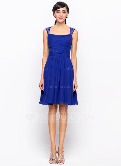 A-Line/Princess Knee-Length Chiffon Lace Bridesmaid Dress With Ruffle (007045439)
