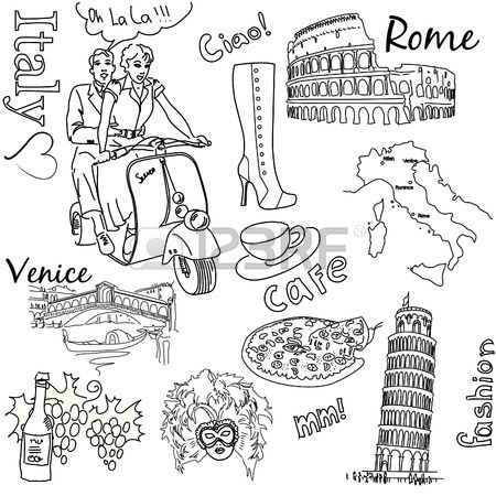 Sightseeing In Italy Doodles Stock Vector Coloring Pages Scooby Doo Coloring Pages Travel Journal