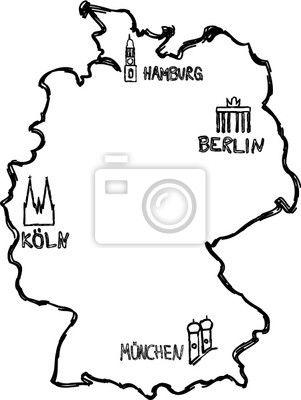 Fototapete Deutsch Visitenkarte Abriss Deutschlandkarte