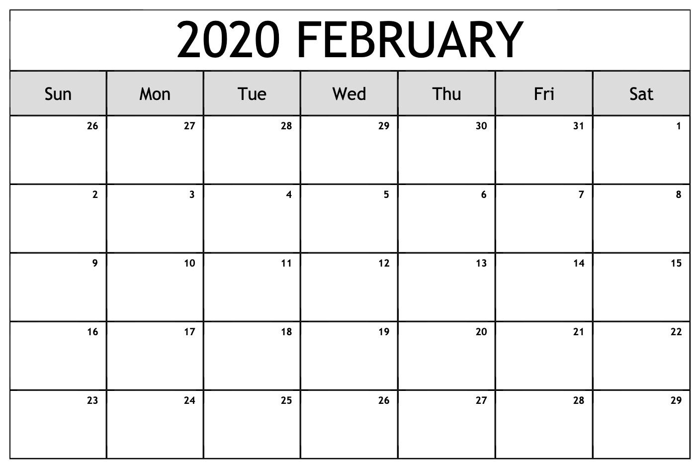 February Calendar 2020 Printable Notes And To Do List In 2020