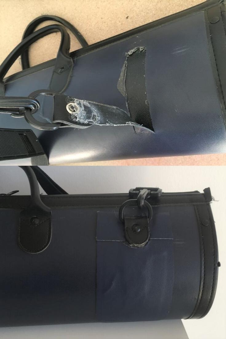Reparation Avant Apres Housse De Guitare Dechirure Importante Reparee Avec Un Adhesif Stormsure De La Colle Forte Et U Cuir Accessoires En Cuir Cuir Lisse