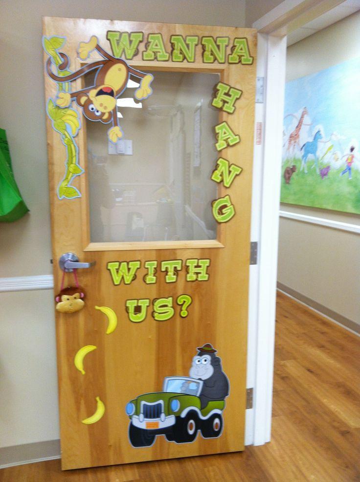 Jungle classroom door classroom pinterest jungle for Door decoration for nursery class