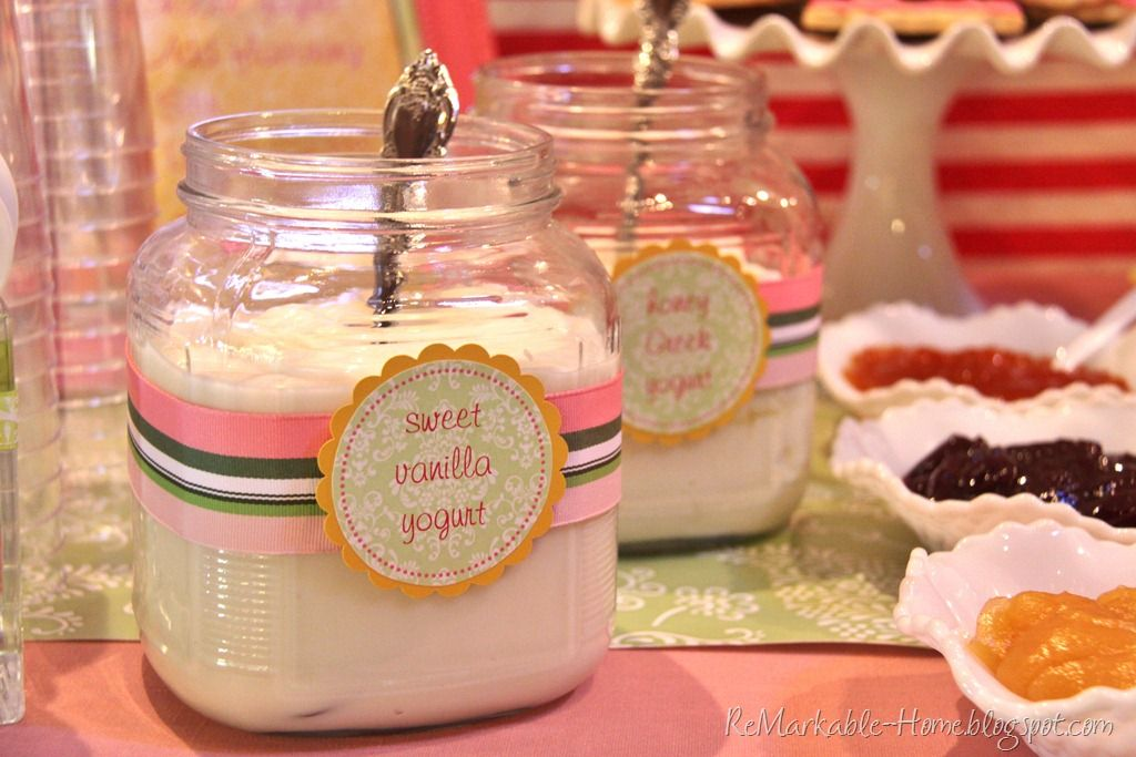 a yogurt parfait bar.  How to display your yoghurt, in big jars