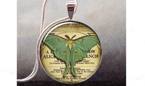 Luna Moth pendant charm, moth jewelery, moth jewellery, moth necklace   thependantemporium - Jewelry on ArtFire