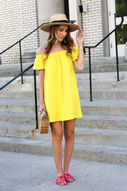 346c5d1ce58e  24 ASOS PETITE Off Shoulder Mini Yellow Dress Teamed With Summer ...
