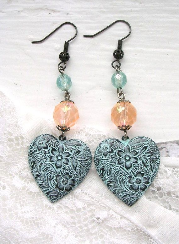 Heart Dangle Earrings Aqua Patina Floral Dark Chocolate Black Brass USA Findings Shabby Chic by TheVintageHeart