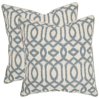safavieh blake 18 inch blue grey feather decorative pillows set of 2 by safavieh - Blue Decorative Pillows