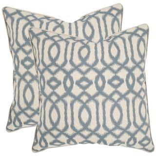 safavieh blake 18 inch blue grey feather decorative pillows set of 2 by safavieh - Blue Decorative Pillows