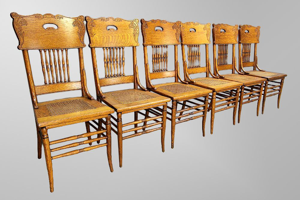 Antique Set Of Six 100 Year Old Oak Pressed Back Chairs Love