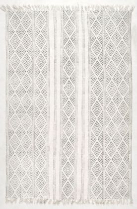 Rugs Usa Off White Chembra Block Printed Cotton Flatweave Concentric Diamonds Rug