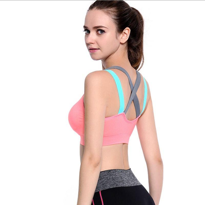 e2eec7998b Wholesale Woman s pro padded compression sports bra Sportswear Spaghetti  Strap Fast dry elastic running tank top bra