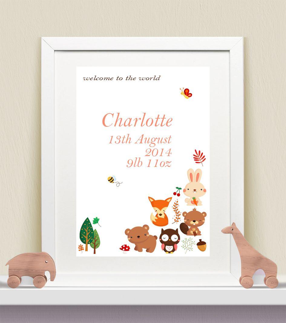 Personalised Baby Print - Woodland Animals Girls