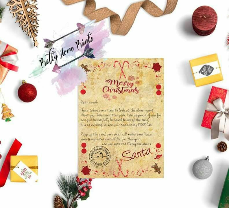 Santa letter personalised, WwwPrettyhomeprintsuk Pretty Home - sample wedding guest list