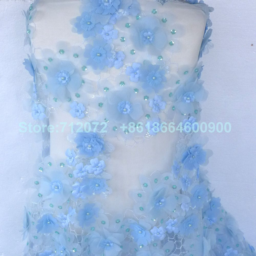 New Light Blue Off White Red Green Handmade Flowers Pearls Sequins Netting Wedding Evinging Show Dress Lace Fabric Affiliate