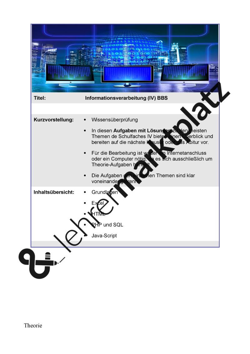 IV Informationsverarbeitung Grundlagen HTML, PHP, SQL