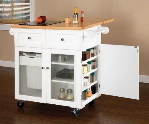 Real Simple Rolling Kitchen Island In White 300 Bed Bath: Portable Kitchen Island: Multifunctional Furniture