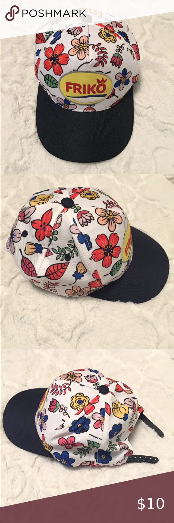 Friko White Floral Snap Back Cap Deep Navy Brim In 2020 Women Accessories Hats Clothes Design Brim