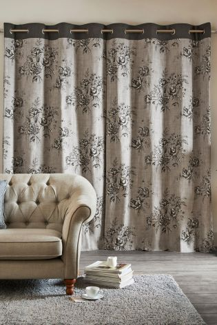 Buy Hand Drawn Peony Print Eyelet Curtains From The Next UK Online Shop
