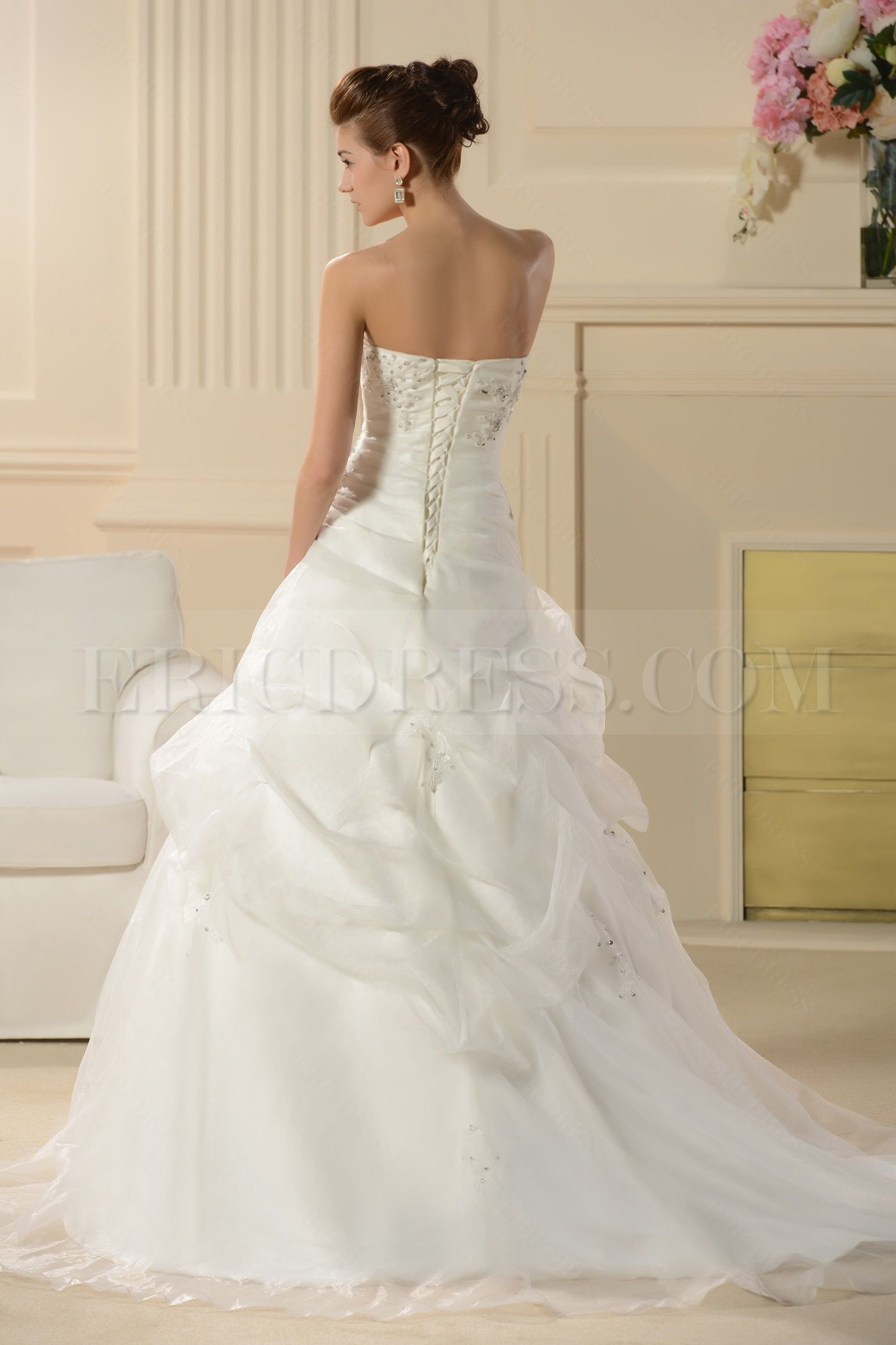 Country dresses for weddings  Dramatic ALine Strapless Embroidering Chapel Train Wedding Dress