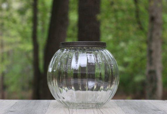 Large Decorative Jars Vintage Decorative Round Glass Jar Withtheretrobeehive On Etsy
