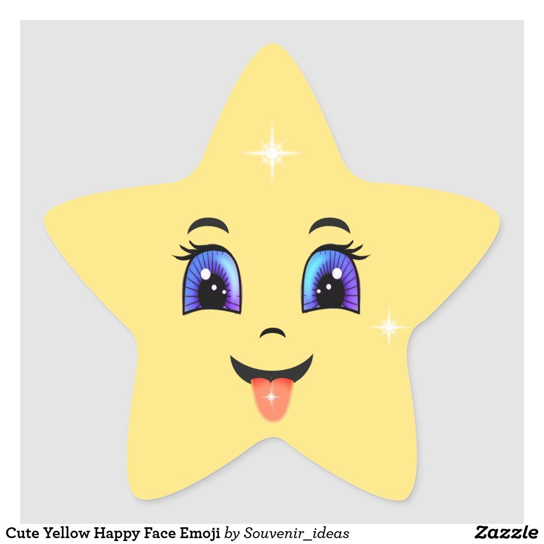 Cute Yellow Happy Face Emoji Star Sticker Zazzle Com Happy Face Cartoon Star Stickers Happy Cartoon