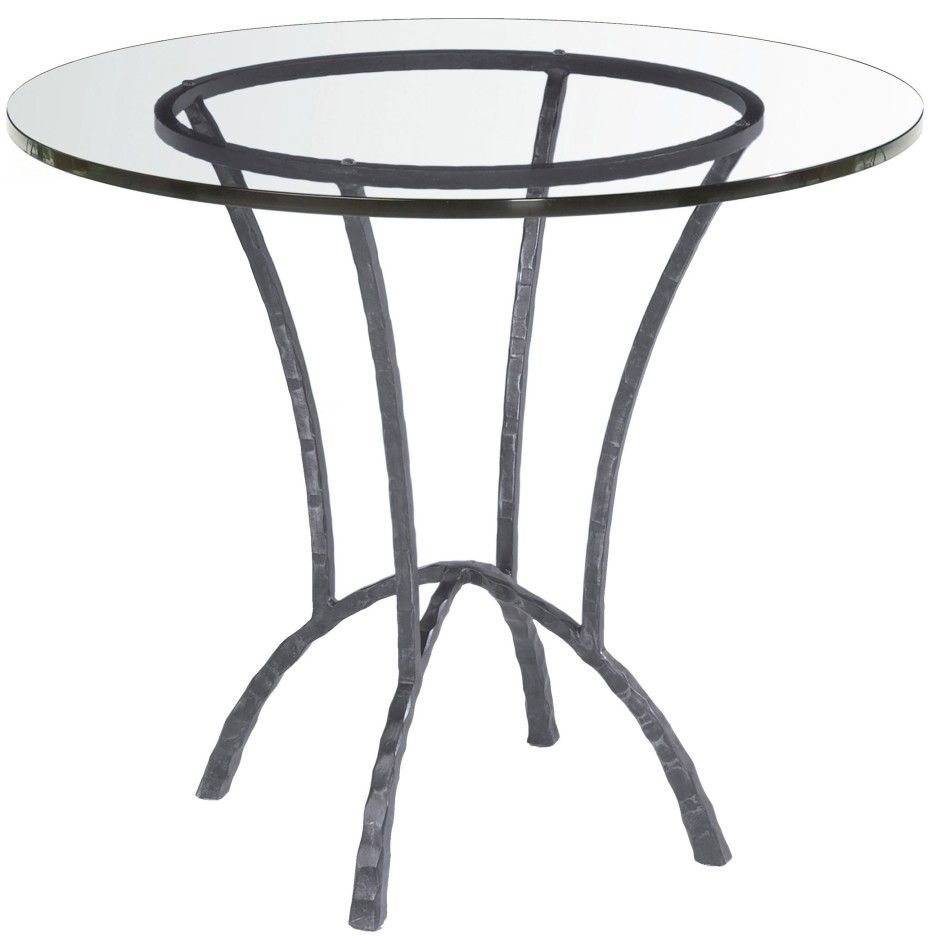 Attractive Flat Polished Round Glass Dining Table With Black Metal Awesome Bases For Glass Dining Room Tables Inspiration