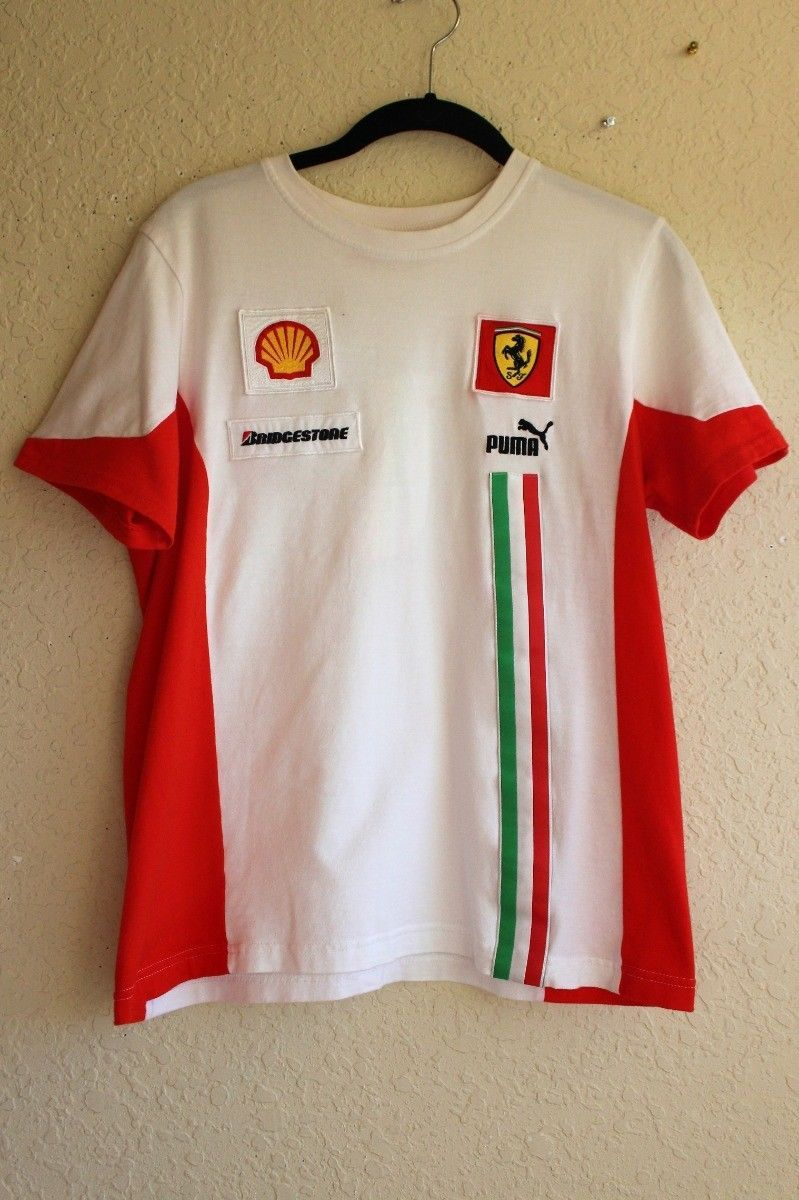 ad5680356b2f Puma Ferrari Shell Bridgestone Tee T-Shirt Italian Boys Girls XL White Red  Green