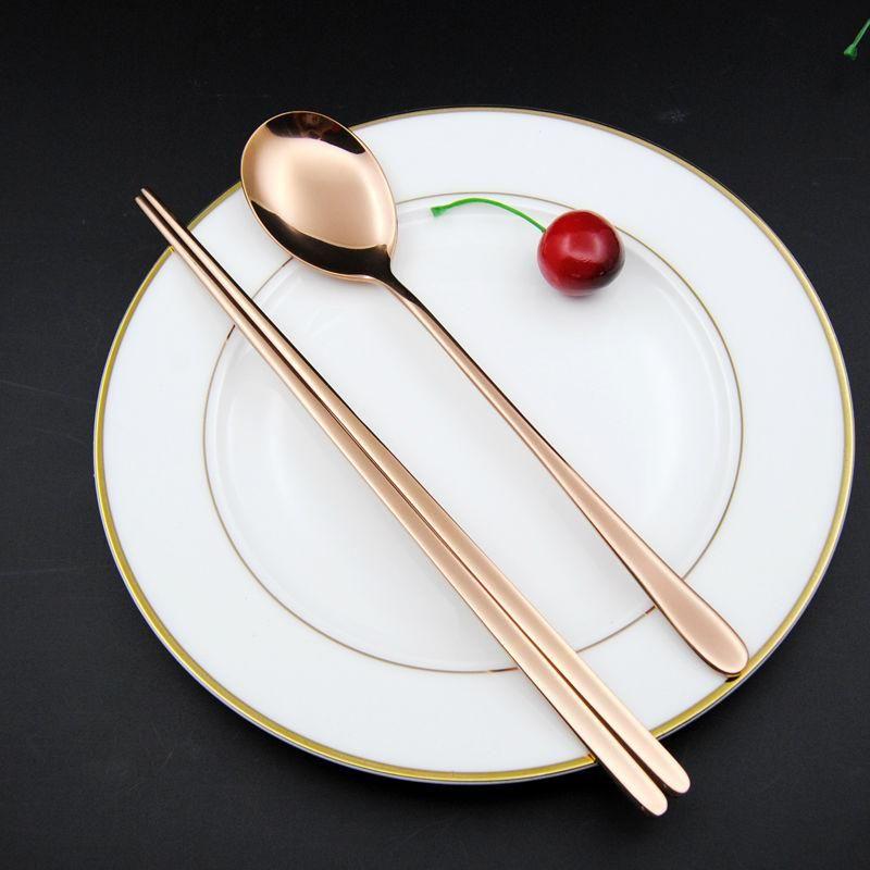Stainless Steel Korean Tableware Chopsticks Spoon 2pcs Set Black Silver Rose Gold And Gold 2 Tableware Tableware Set Cutlery Set Stainless Steel
