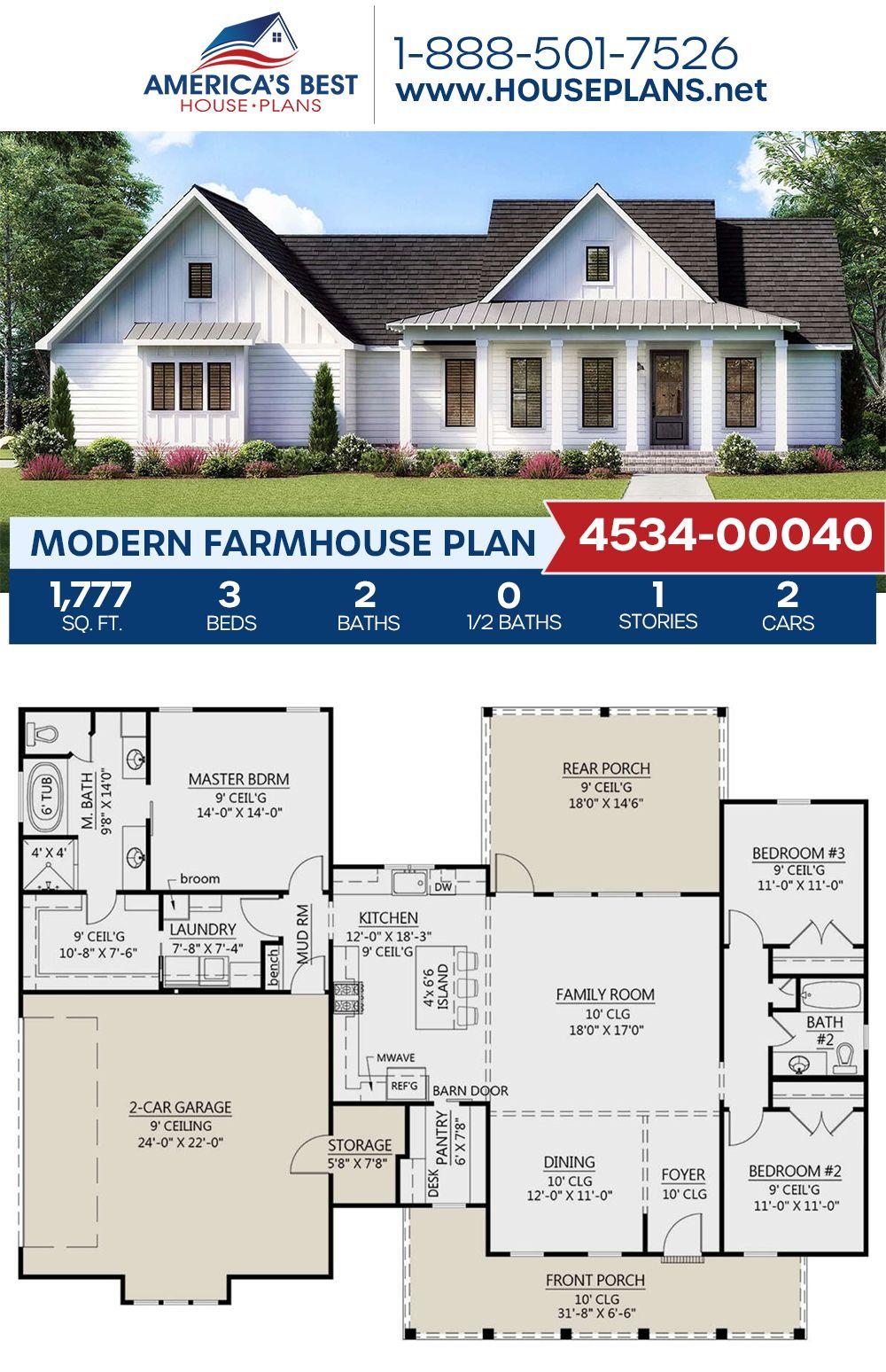 Modern Farmhouse Plan 4534