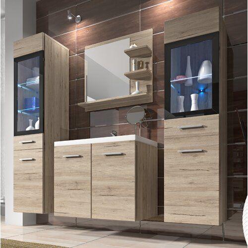 Photo of 5-tlg. Badmöbel-Set Skyler Belfry Bathroom Mit Beleuchtung: Mit Beleuchtung – Mit RGB Farbwechsel