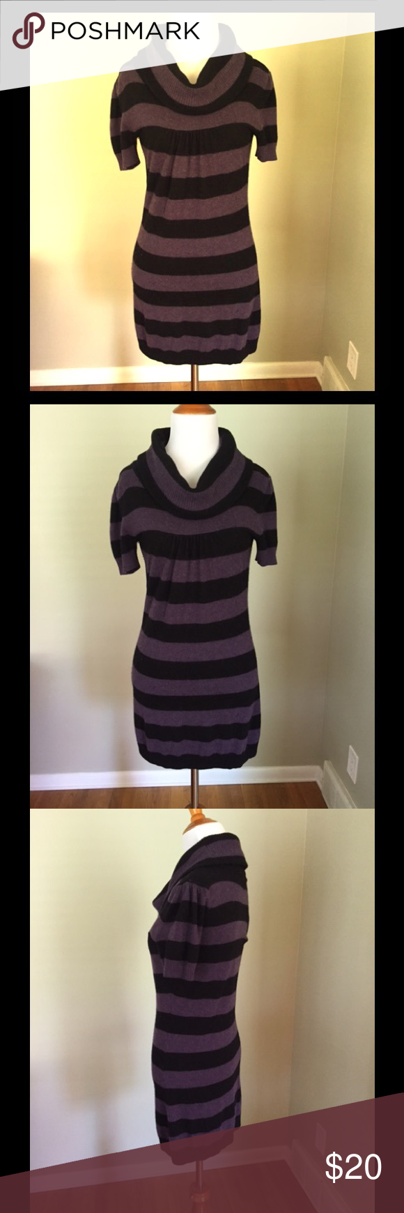 Curve hugging, Striped sweater tunic This is a great sweater tunic or dress.  I usually wore with tights and it covered by bottom just fine ( just didn't bend over ). INC International Concepts Tops Tunics