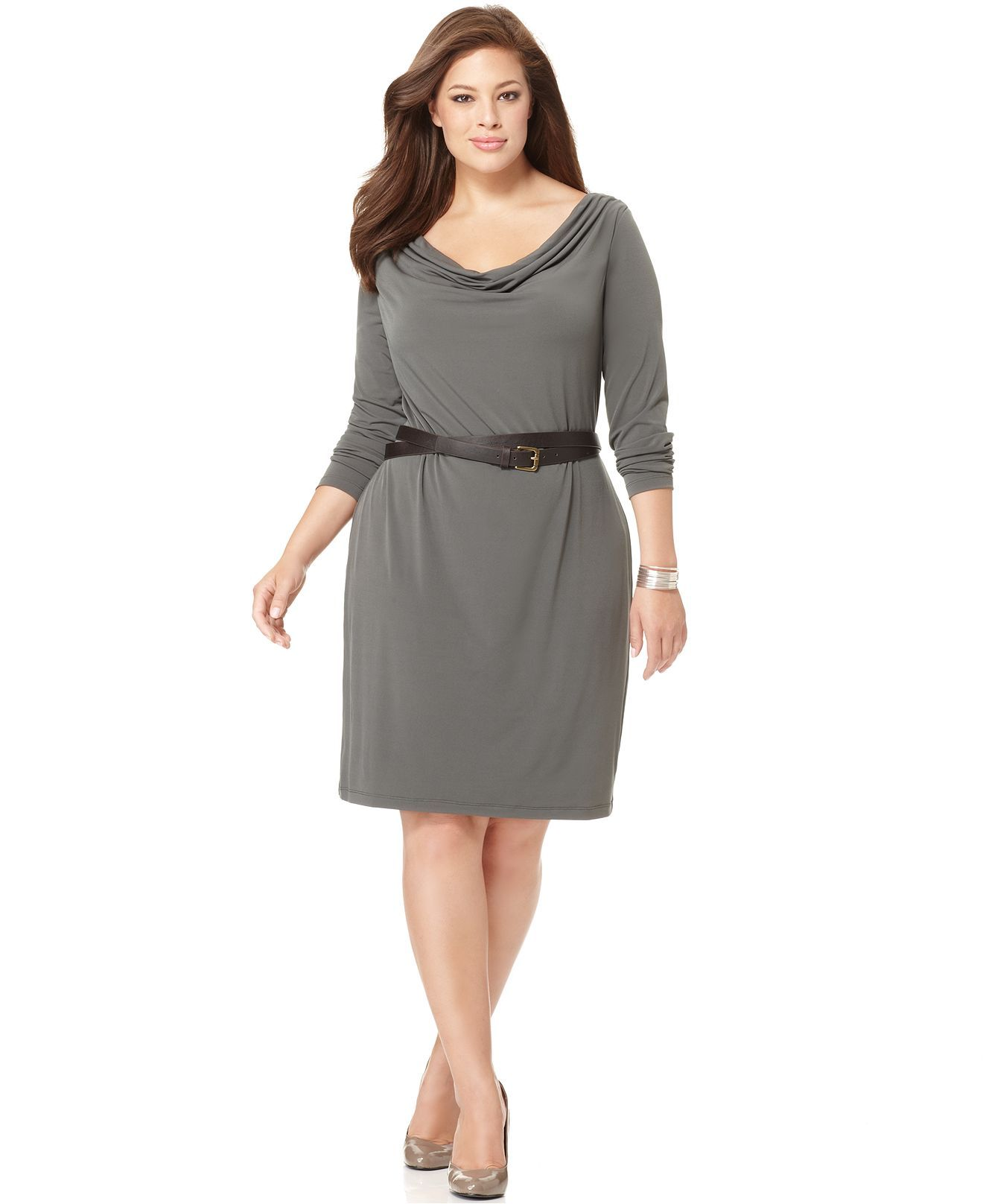 Calvin Klein Plus Size Dress, Long Sleeve Belted Cowlneck Jersey ...