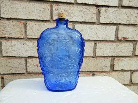 Seashell Collectible Libbey Blue decanter bottle,Home Living,Outdoor