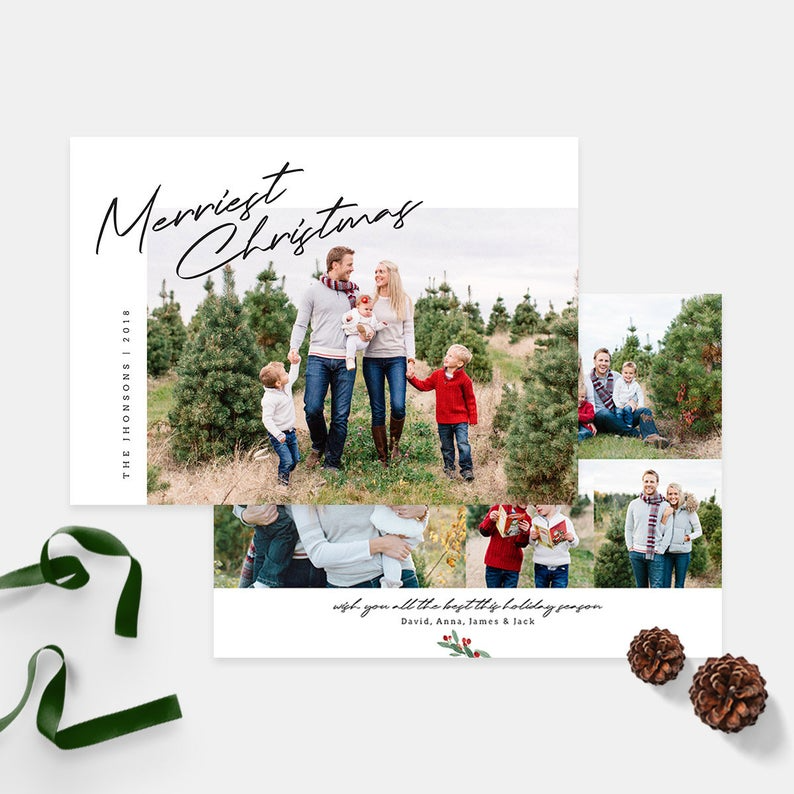 Christmas Card Template Holiday Photo Cards Family Card Etsy Family Christmas Cards Holiday Photo Cards Christmas Card Template