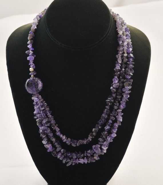 amethyst chips silver necklace by SestraStudio on Etsy