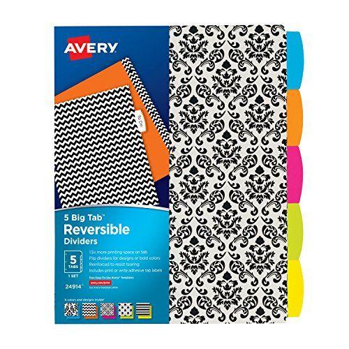 Avery Big Tab Reversible Fashion Dividers 5 Tabs 1 Set Https