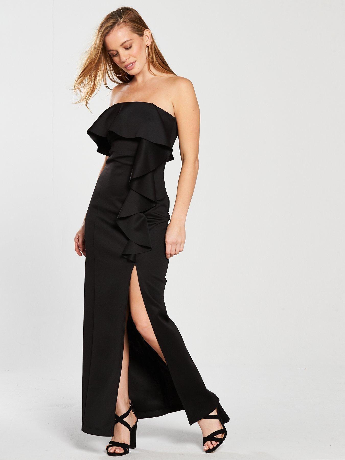 Miss selfridge petite scuba ruffle maxi dress black in