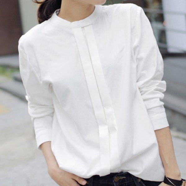 Simple Stand Up Collar Solid Color Long Sleeve Women S
