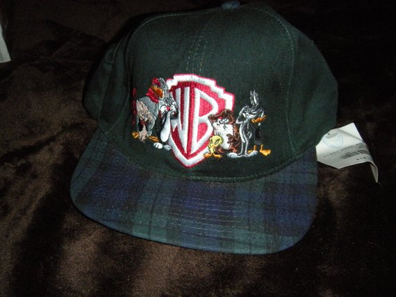 3b7bffc2b74 Vintage WB Looney Tunes Plaid Snap Back Snapback Hat Cap 80s 90s Rare Retro  Cartoon Taz Bugs Bunny T