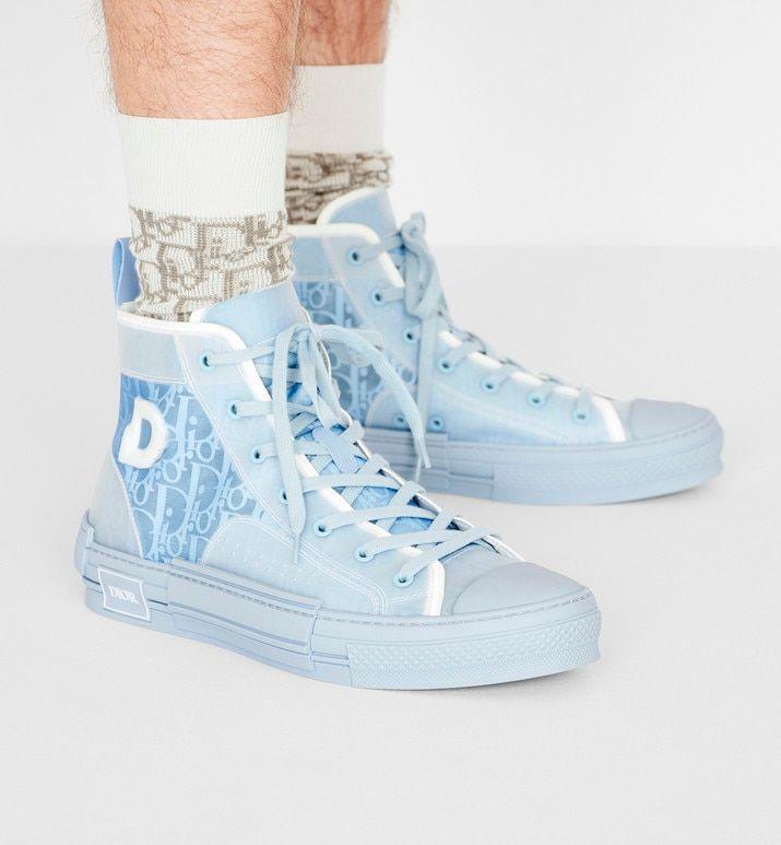 B23 DIOR AND DANIEL ARSHAM High-Top Sneaker in Light Blue Dior Oblique – Shoes – Men's Fashion   DIOR